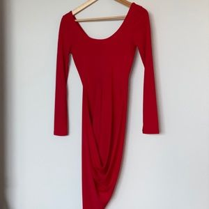 NEVER WORN - Red bodycon asymmetrical dress